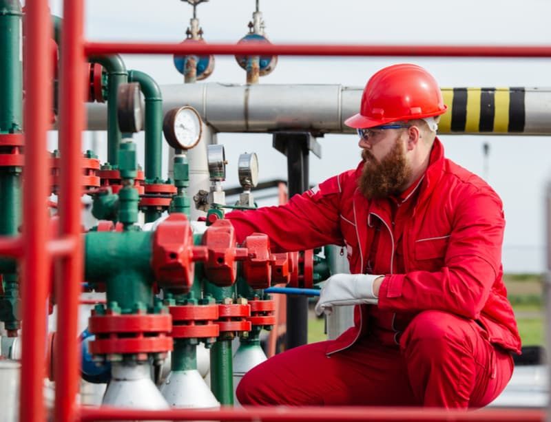 Worker in Oil Refinery
