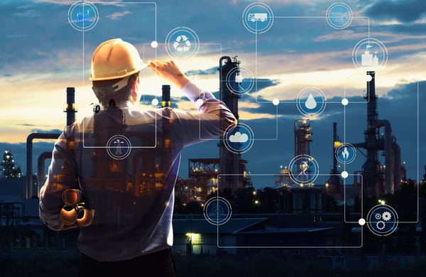 Engineer with oil refinery industry plant background