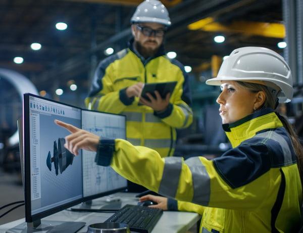Female industrial engineer works on personal