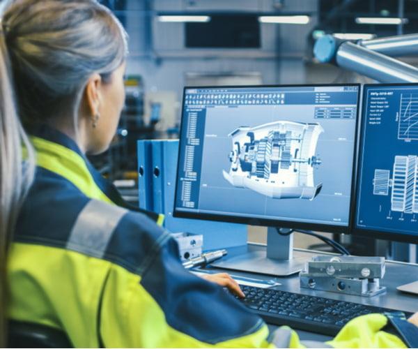 Female mechanical engineer designs 3D engine